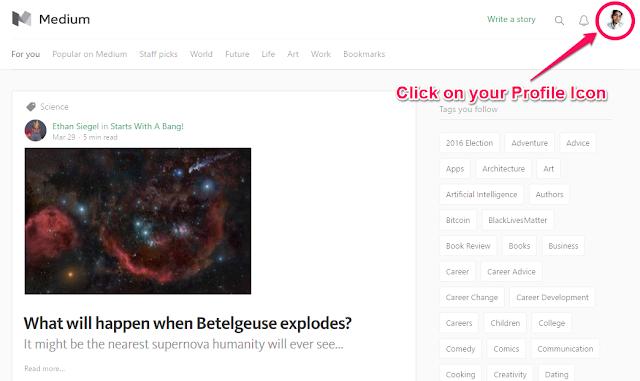 Click on Profile Icon - Medium Screenshot