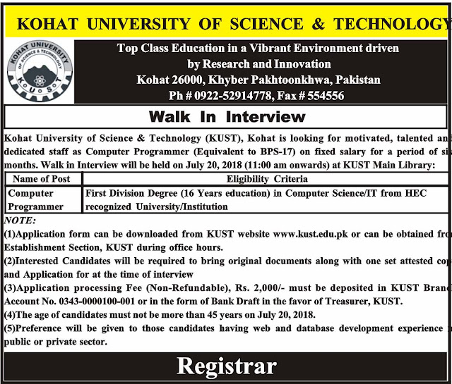 Jobs In Kohat University Of Science And Technology 13 July 2018