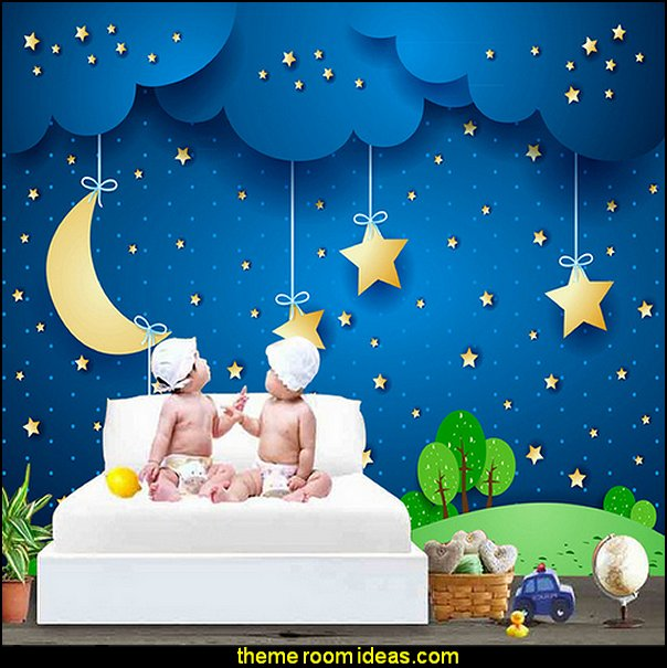 Moon Stars Blue Sky Mural Wallpaper   stars clouds wall decals
