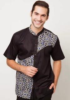 Model baju batik muslim terbaru untuk pria lengan pendek