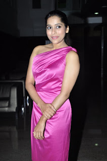 Anchor Actress Rashmi Gautam  Stills in Pink One Shoulder Short Dress at Savitri Audio Launch  0014.jpg