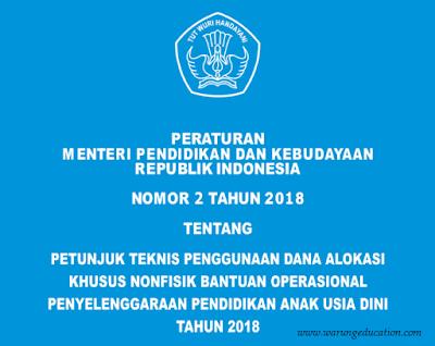 Permendikbud No. 2 Tahun 2018 Tentang Petunjuk Teknis BOP PAUD