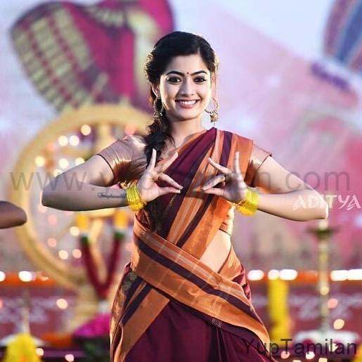 Rashmika Mandanna Hot Saree Stills-Beautiful Saree Pictures
