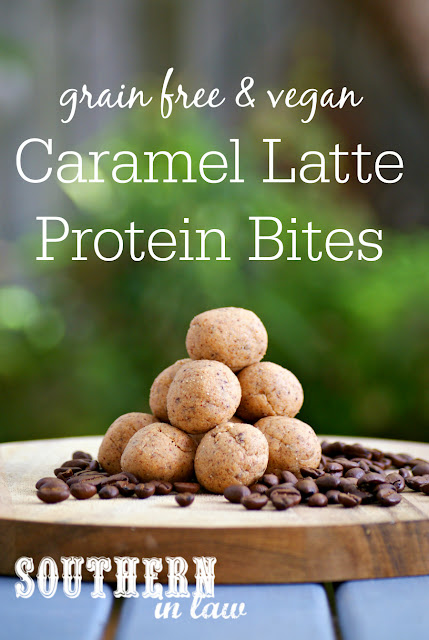 Healthy Caramel Latte Protein Bites Recipe - low carb, gluten free, vegan, refined sugar free, no bake snack recipes, bliss balls, clean eating recipes, grain free, paleo, peanut free