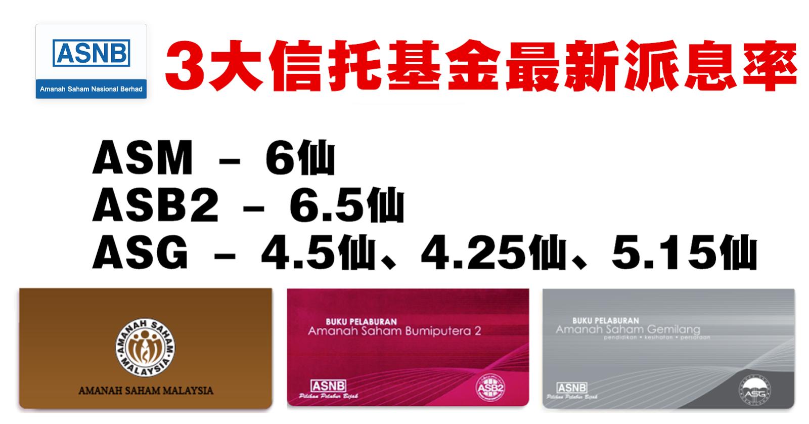 ASM、ASB2、ASG 最新派息率