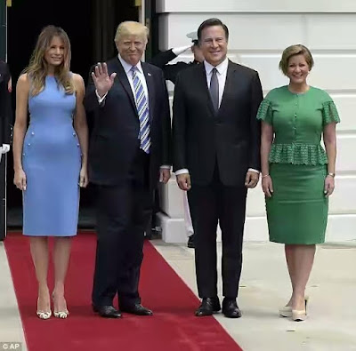 Melania Trump rocks chic blue dress and Louboutin heels as the First Couple welcome the president of Panama to the White House