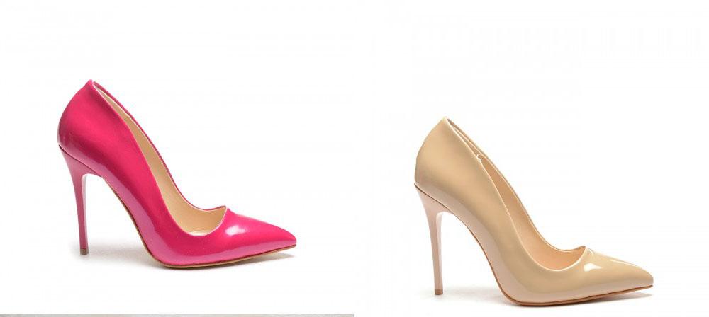 Pantofi lacuiti cu toc inalt de ocazii roz, nude eleganti ieftini