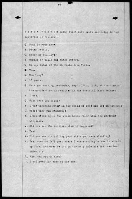 Coroner's Report for Jacob Meinzen of Steubenville, Ohio, testimony of Peter Festic