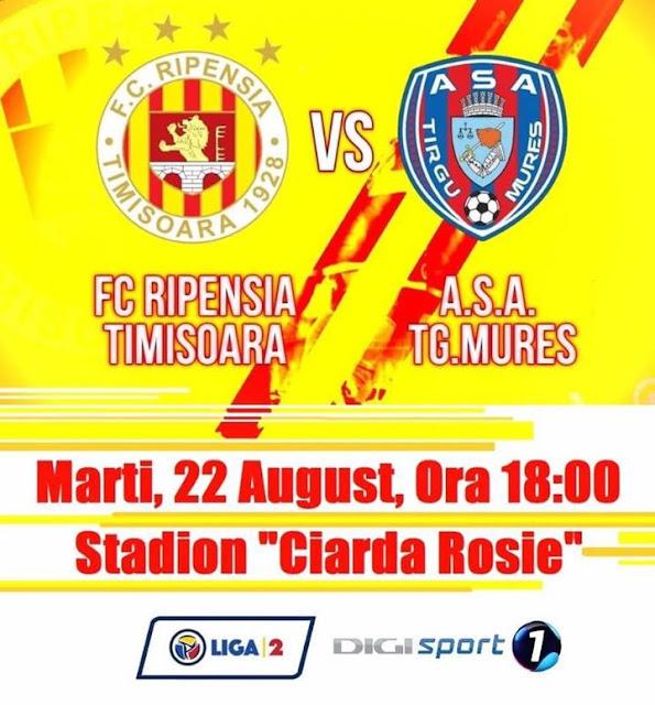Liga 2, etapa 4. Ripensia Timisoara - ASA Târgu Mureş (ora 18.00, DigiSport1). Ripensia vrea a patra victorie din acest sezon