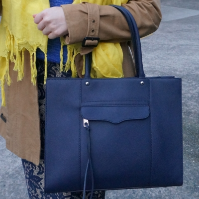 Rebecca Minkoff medium MAB tote in moon navy in winter office bag | away from the blue