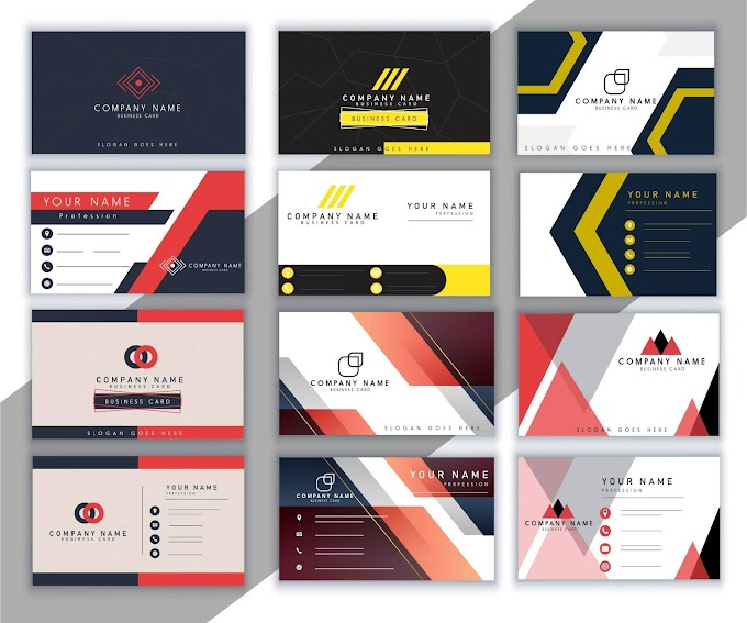 Business card templates collection colored modern elegant decor Free vector