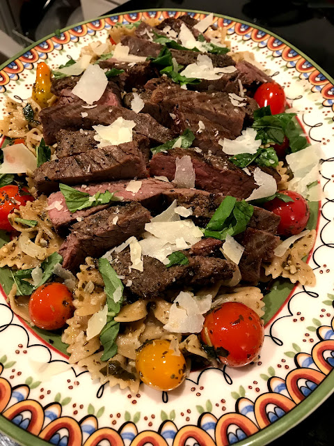 Marinated, Grilled, Sliced Flank Steak and Pesto Farfalle Pasta
