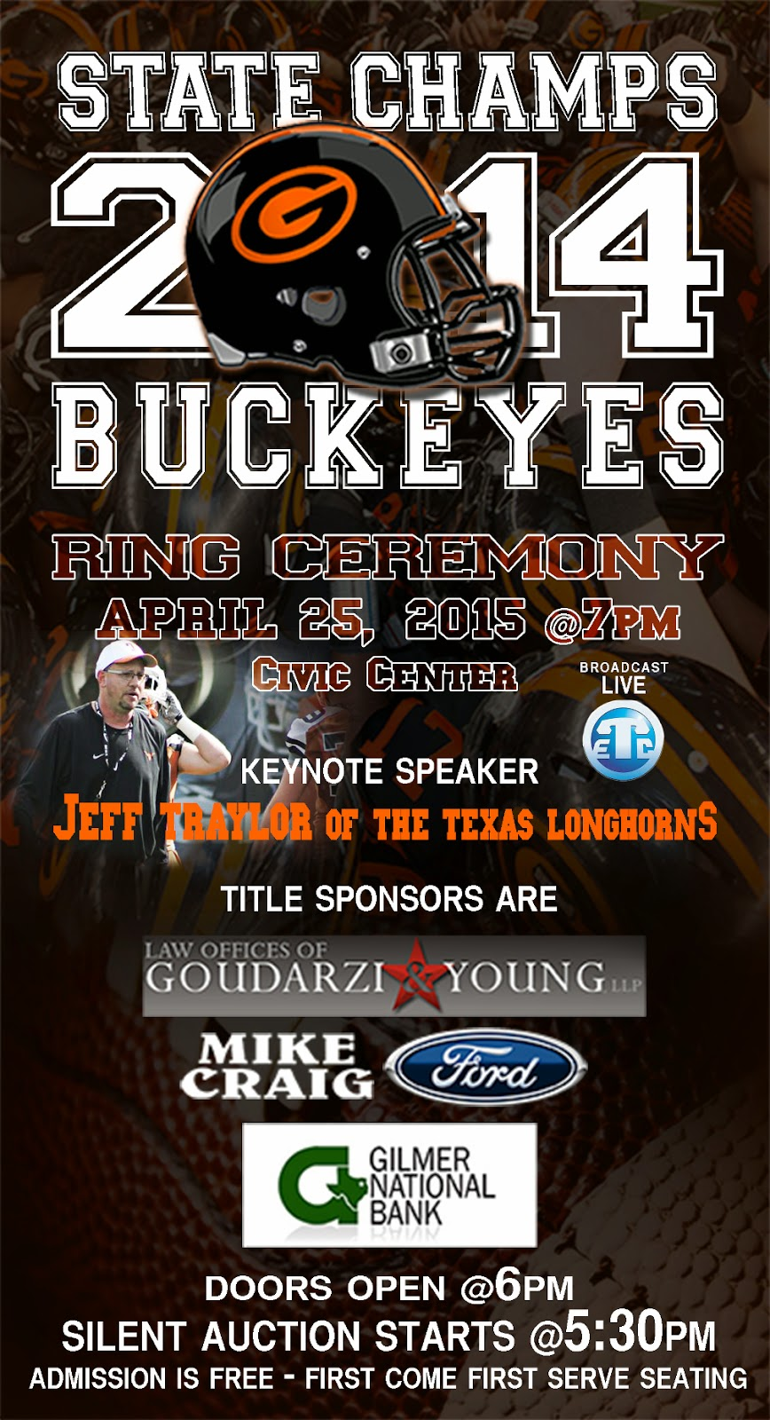 Gilmer Buckeyes Ring Ceremony to be on Saturday, April 25