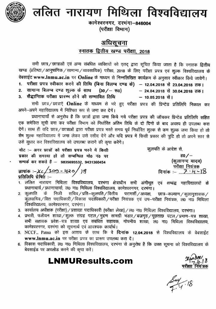LNMU Part 2 Online Apply Notification