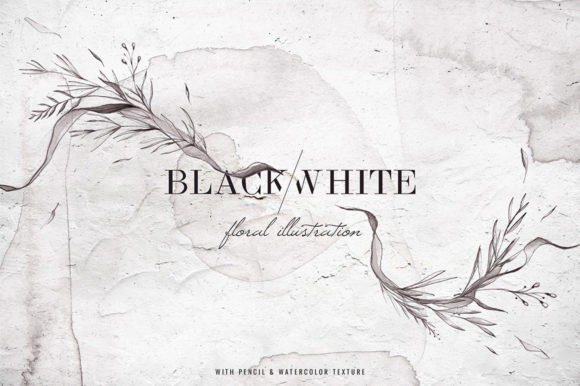 Black And White Watercolor Floral