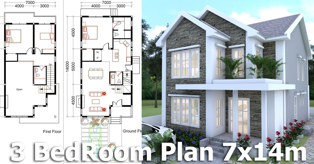 Sketchup Modeling Home Plan 7x14m Samphoas House Plan