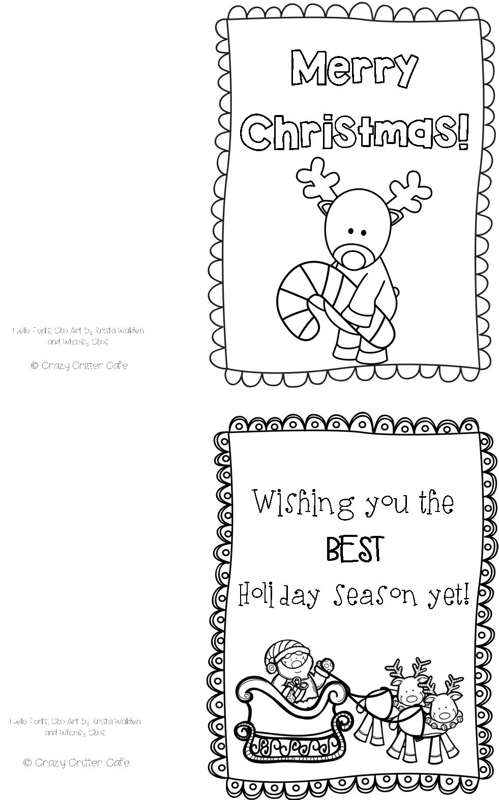 Crazy Critter Cafe : Freebie #3 Color Your Own Christmas Cards