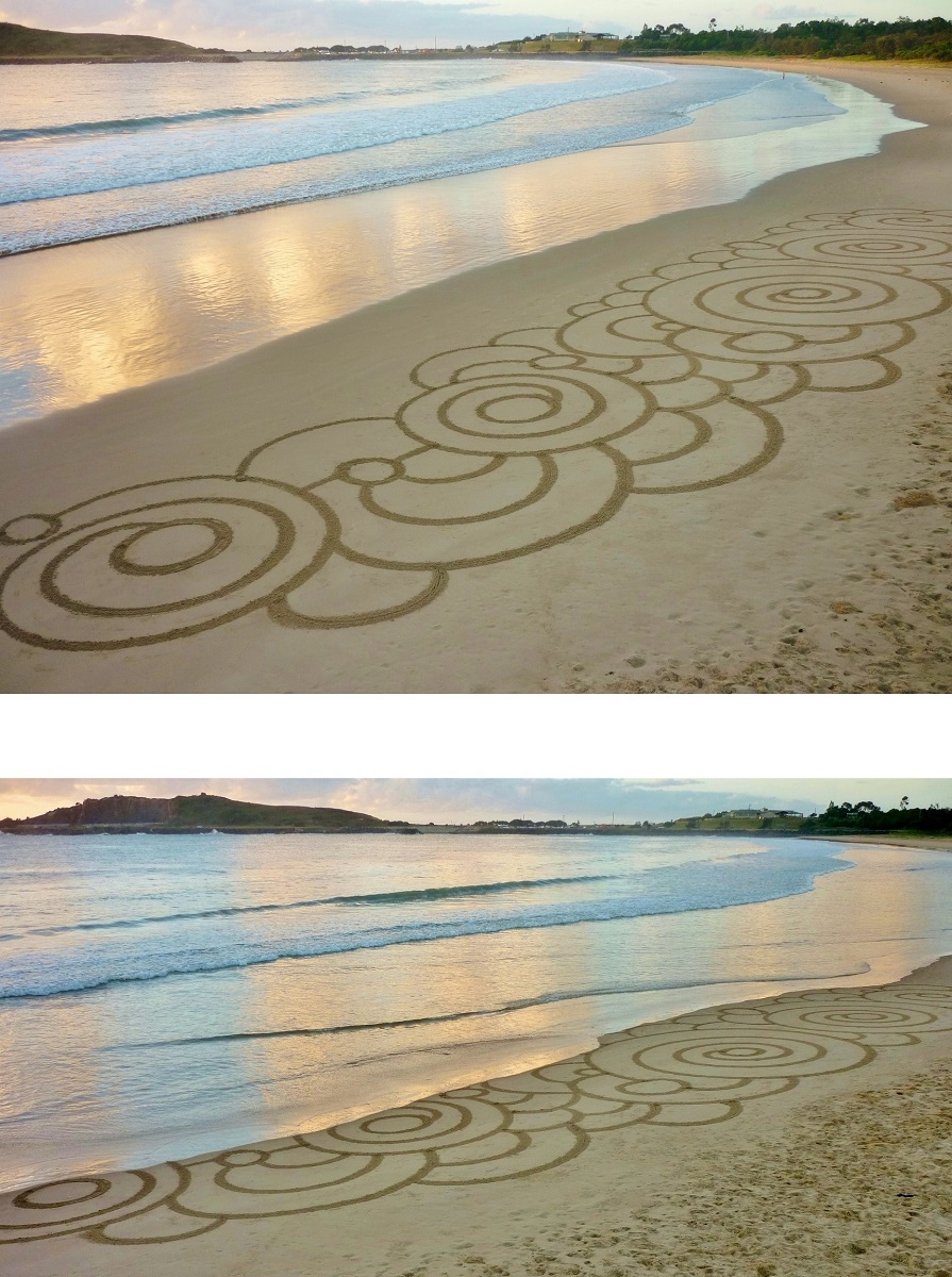 Gerry joe weise land art gerry joe weise ephemeral tidal rings before and after the tide sand drawings coffs harbour jetty beach australia 2016 private collection nvjuhfo Image collections