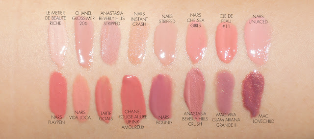The Beauty Look Book NARS Velvet Lip Glide swatch comparisons