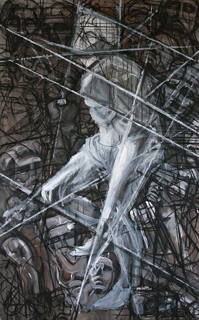 newclassical View photos abstract decay slave struggle bound Michelangelo statue virgil heads deteriorate figure contemporary charcoal acrylic painting drawing  art