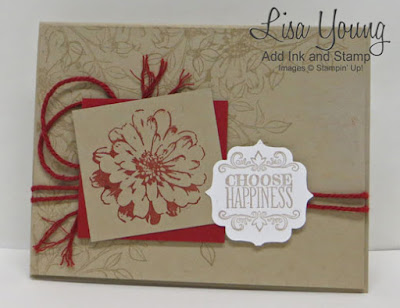 Stampin' Up! Choose Happiness stamp set. Crumb Cake and Cherry Cobbler. Handmade card by Lisa Young, Add Ink and Stamp