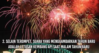 Selain Terompet, Suara Yang Menggambarkan Tahun Baru Adalah Letusan Kembang Api saat malam Tahun Baru