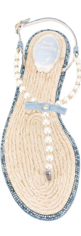 RENÉ CAOVILLA pearl string sandals