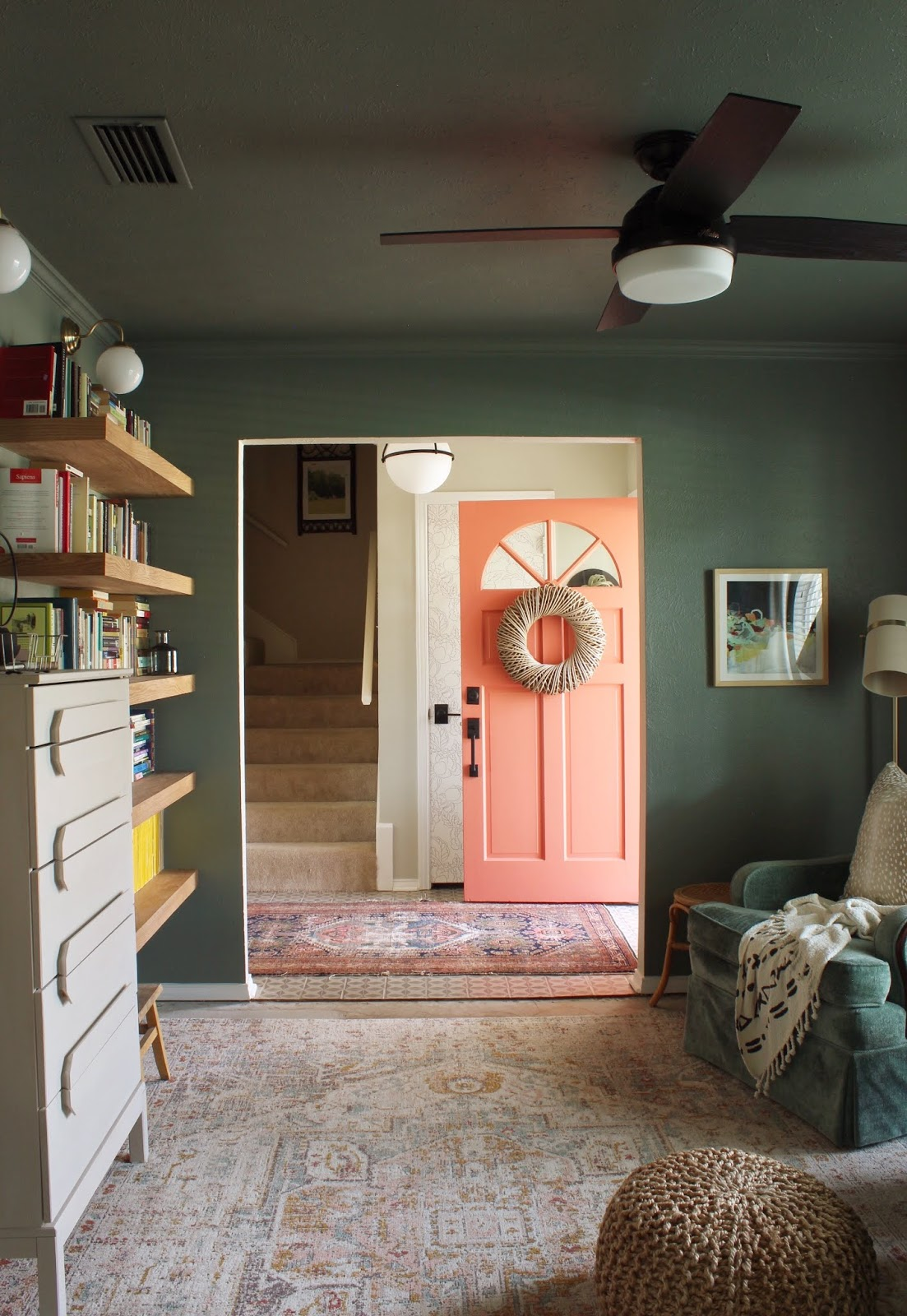 The One Room Challenge is over and I'm so excited to show you our reading room / library / pah-lah (that's southern for parlor). It was quite the transformation. My husband built amazing shelves and for the first time ever all of his books are in one place... and it's super dreamy. | House Homemade