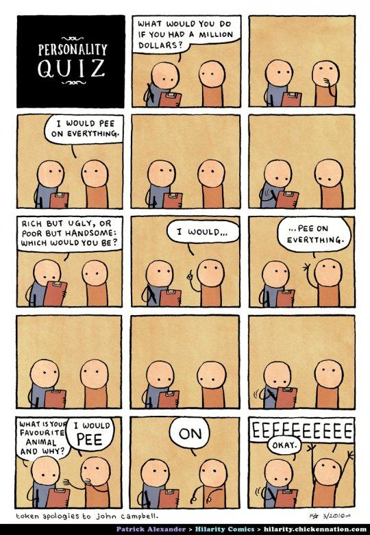 hilarity comics: pee on everything, million dollars