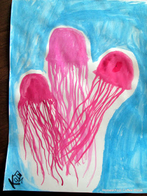 Jellyfish on the Virtual Refrigerator, an art link-up hosted by Homeschool Coffee Break @ kympossibleblog.blogspot.com