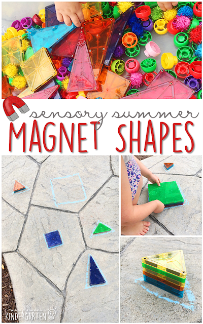 Sort shapes with this Magnatile sensory bin, a perfect outdoor activity for summer tot school, preschool, or kindergarten!