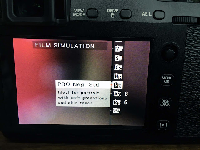 Fujifilm X-E3 rear touchscreen menu example