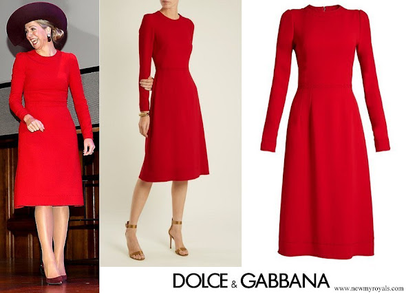 Queen Maxima wore DOLCE and GABBANA Contrast Stitch Cady Dress
