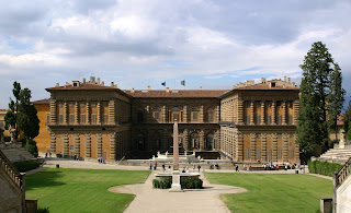 The Palazzo Pitti in Florence, as seen from the Giardini Boboli behind the palace, was Vittoria's home
