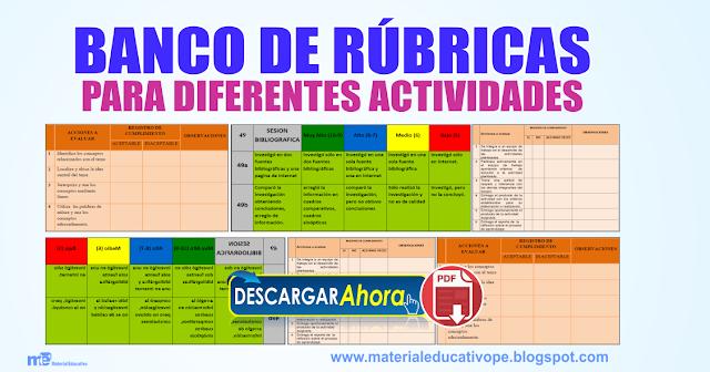 BANCO DE RUBRICAS PARA DIFERENTES ACTIVIDADES