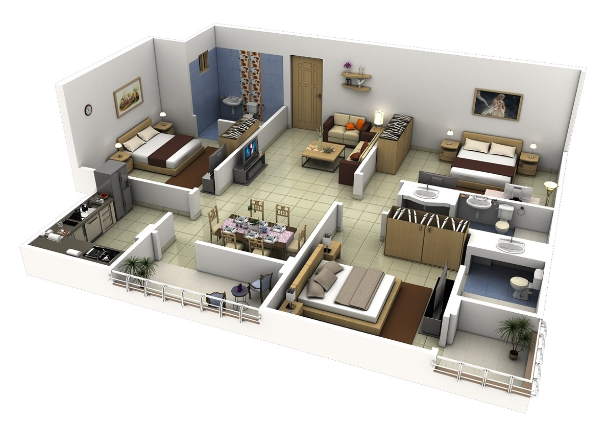 3d house plans for modern apartment with 3 bedrooms