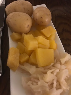 mixed veg plate with potato swead and cabbage