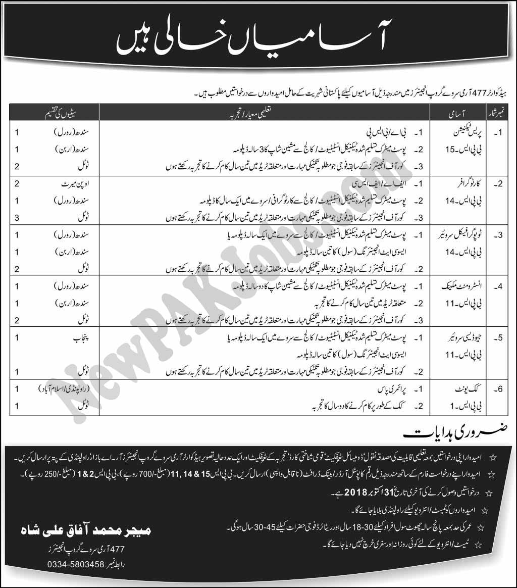 New Jobs In Headquarter 477 Army Survey Group Engineers 14 Oct 2018