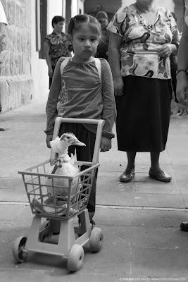 niña con pato bendicion de mascotas