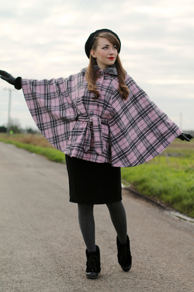 Collectif Eglentine pink check cape outfit
