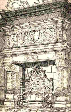 Sketch of The sixteenth century fireplace at North Mimms Park by H.M Alderman