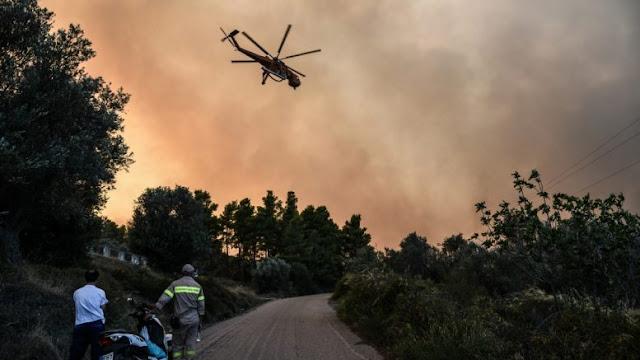 Ανεξέλεγκτη η μεγάλη πυρκαγιά στην Εύβοια