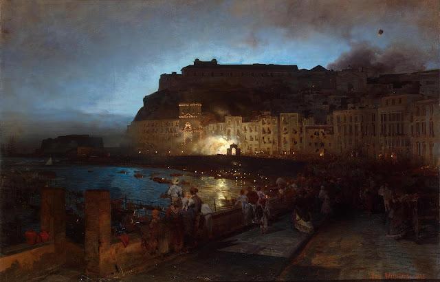 Oswald Achenbach - Fuegos artificiales en Nápoles - 1875