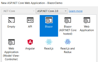 Blazor template in Visual Studio
