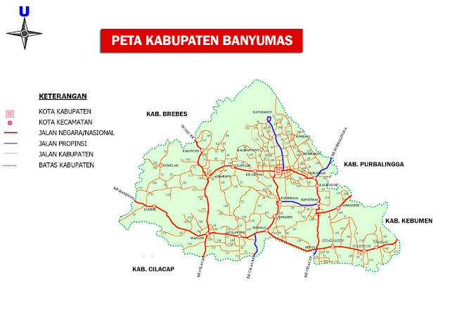 Peta Kabupaten Banyumas Lengkap 27 Kecamatan