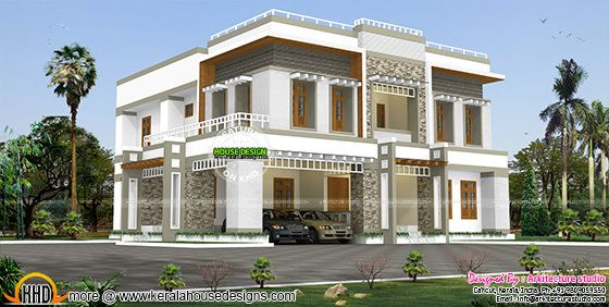 box type contemporary flat roof home