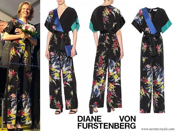 Queen Mathilde wore DIANE VON FURSTENBERG Floral printed silk jumpsuit