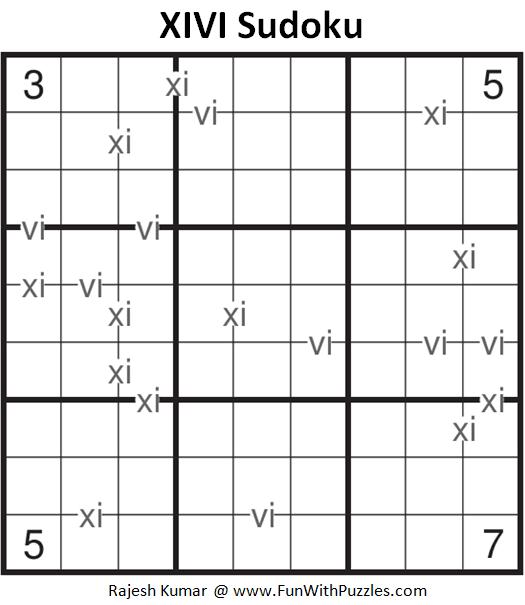 XIVI Sudoku Puzzle (Fun With Sudoku #285)