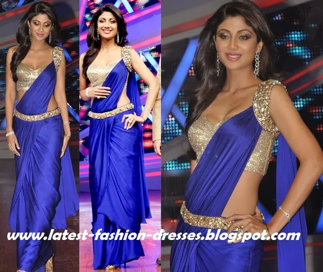 Bollywood actress in Blue colour  style saree