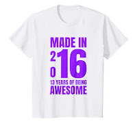 Kids Funny 13th Birthday Gift tshirt made in 2016 13 years old